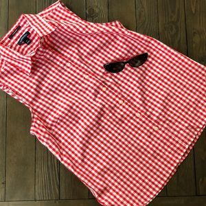 Lands End Red & white checked sleeveless Top